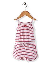 Fox Baby Singlet Striped Jumpsuit - Red & White