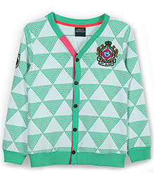 Lilliput Kids Full Sleeves Geometric Pattern Sweatshirt - Green