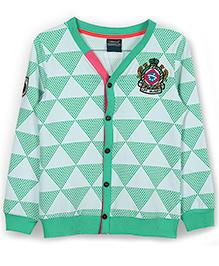 Lilliput Kids Full Sleeves Geometric Pattern Cardigan - Green