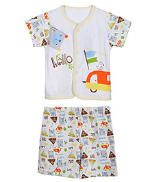 Lilliput Kids Half Sleeves T-Shirt And Shorts Multiprint - Yellow White