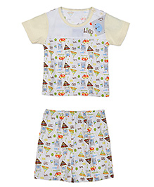 Lilliput Kids Half Sleeves T-Shirt And Shorts Multiprint - Light Yellow