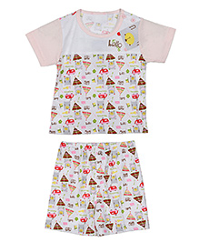 Lilliput Kids Half Sleeves T-Shirt And Shorts Multiprint - Pink