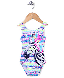 Pumpkin Patch Sleeveless Swimsuit Zebra Print - Multicolour