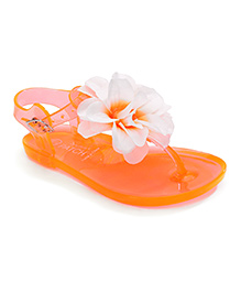 Pumpkin Patch Flip Flops Floral Applique - Orange