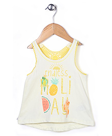 Pumpkin Patch Sleeveless Top Holiday Print - Light Yellow White