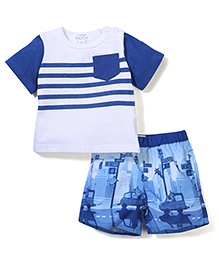 Pumpkin Patch Half Sleeves T-Shirt And Shorts Set Striped - White & Blue