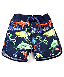 Pumpkin Patch Swim Shorts With Drawstring - Dark Navy