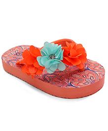 Pumpkin Patch Flip Flops Floral Applique - Orange