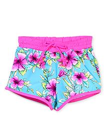 Pumpkin Patch Swim Shorts Floral Print - Pink and Aqua