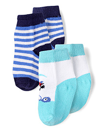 Pumpkin Patch Ankle Length Socks Multi Print - Blue White Green