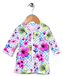 Pumpkin Patch Swim Top Floral Print - Pink and White