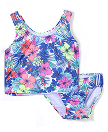 Pumpkin Patch Tankini Swim Top And Bottom Set Floral Print - Multicolour