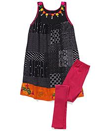 AlpnaKids Printed Tunic & Tight Set - Black & Pink