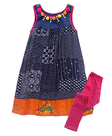 AlpnaKids Printed Tunic & Tight Set - Blue & Pink