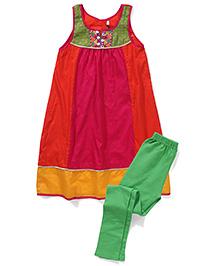 AlpnaKids Kurta Leggings Set With Brocade & Embroidery Detailing - Orange & Pink