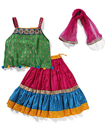 AlpnaKids Brocade Choli Skirt & Dupatta Set - Green