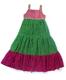 AlpnaKids Bandhini Gypsy Dress - Magenta & Green