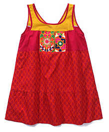 AlpnaKids Printed Kurti - Yellow & Orange