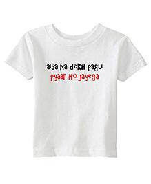 Chota Packet Half Sleeves Cotton T-Shirt Caption Print - White