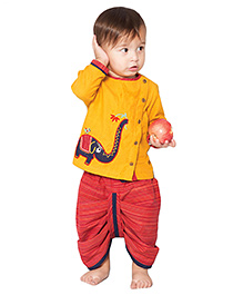Tiber Taber Elephantasia Dhoti Kurta Set  - Yellow & Red