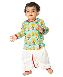 Tiber Taber Kathakali Printed Dhoti Kurta Set - Green