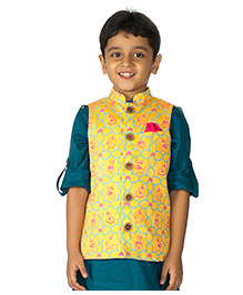 Tiber Taber Mouse Print Nehru Jacket - Yellow