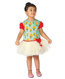 Tiber Taber Kathakali Printed Dress - Green & Multicolour