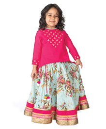 Tiber Taber High Low Kurta With Floral Lehenga 3 Pc Set - Green Pink & Multicolour