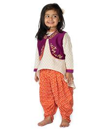 Tiber Taber High Low Kurta With Koti & Dhoti Pants 3 Pc Set - Purple Cream & Orange