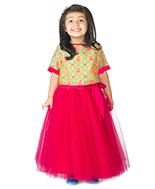 Tiber Taber Mouse Print Crop Top And Bright Skirt Set - Yellow &Pink