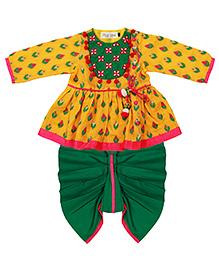 Tiber Taber Marigold Angrakha & Dhoti Set - Yellow & Green