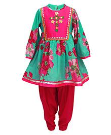Tiber Taber Floral Printed 2 Pc Kurta With Salwar Set - Green & Maroon