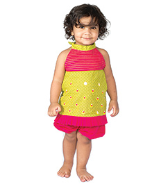 Tiber Taber Bright Top & Bloomer Set - Yellow & Pink