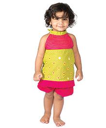 Tiber Taber Bright Top & Bloomer Set - Yellow & Pink