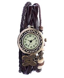 Angel Glitter Hipster Wrist Watch Butterfly Bead - Brown