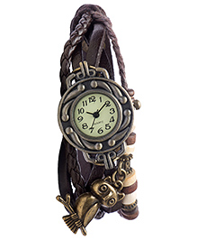 Angel Glitter Diovanni Analog Watch Owl Theme - Brown