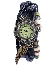 Angel Glitter Hipster Wrist Watch Wing Bead - Navy Blue