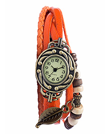 "Angel Glitter Diovanni ""The Autum Leaf"" Orange Color Watch For Womens Orange 18-20 Cms"