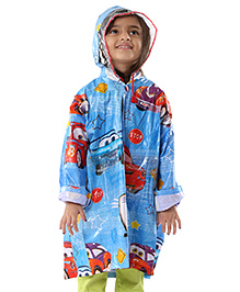 Babyhug Car Printed Raincoat - Blue