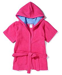 Babyhug Half Sleeves Hooded Bathrobe - Pink