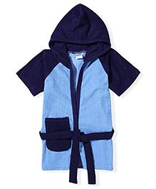 Babyhug Half Sleeves Hooded Bathrobe - Blue