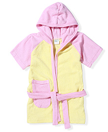 Babyhug Half Sleeves Hooded Bathrobe - Yellow And Pink