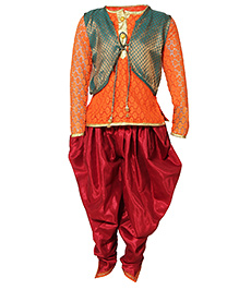 Little Radha Kurta Pajama & Jacket - Orange