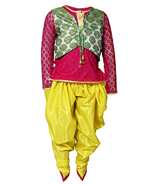 Little Radha Kurta Pajama & Jacket - Pink & Yellow