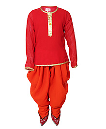 Little Radha Kurta & Pajama Set - Red