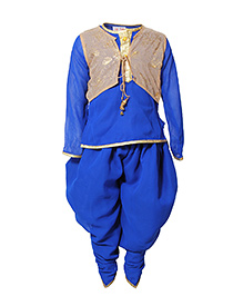 Little Radha Kurta Pajama & Jacket - Blue