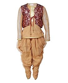 Little Radha Kurta Pajama & Jacket - Brown