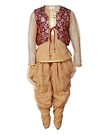 Little Radha Kurta Pajama & Jacket - Brown
