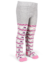 Mustang Footed Stocking Tights Heart Design - Light Grey & Light Pink