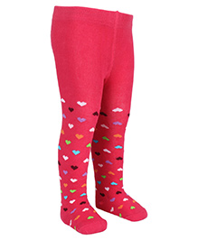 Mustang Footed Stocking Tights Heart Design - Fuchsia Pink